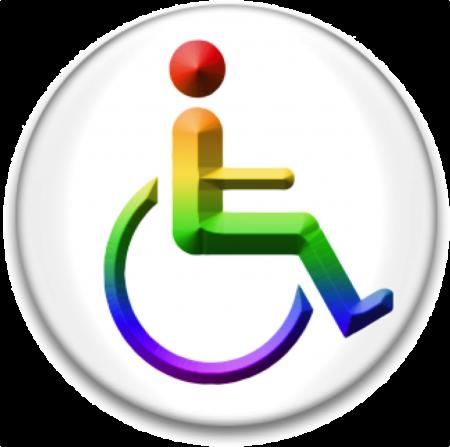Rainbow Wheelchair buttonpic