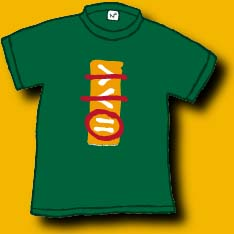 "A 100% cotton hunter green shirt with a school bus yellow bar down the center. Inside the bar are 2 mathematical signs for ""more than"" and ""less than"" and an equal sign with a circle around it.  An original Dan Wilkins design.  We have 3 in child medium left."