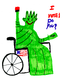 "White cotton tshirt with a drawing of the Statue of Liberty sitting in a wheelchair. The wheelchair has an American flag ""sticker"" on it. Underneath the design it says: Michigan Democratic Disability Caucus. It is also available as a button without the Democratic Disability Caucus on it."