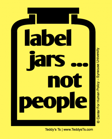 "Yellow shirt with an outline of a black jar with the words ""Label Jars... Not People comes in adult and children's sizes, including a  few long sleeved shirts.  We carry a leaner women's cut in lavender - size small- 2x."
