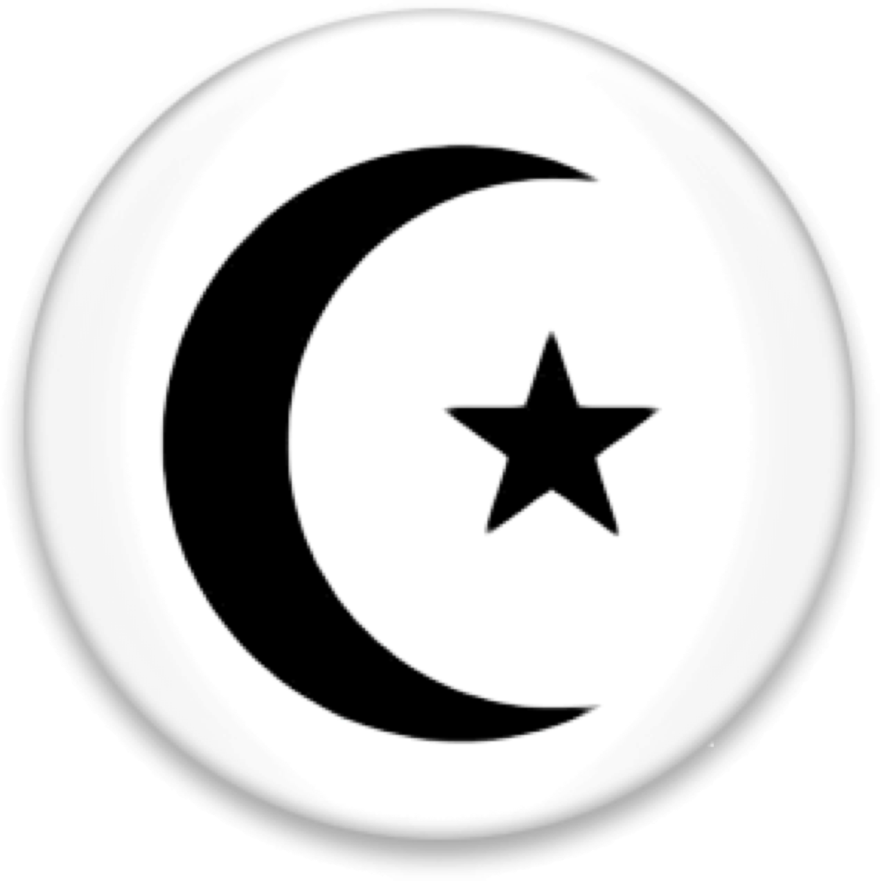 black crescent moon and star representing the celebration of Ramadan