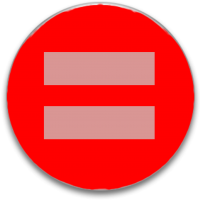 pale pink equal sign on red button